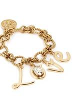 'Love' glass crystal charms bracelet