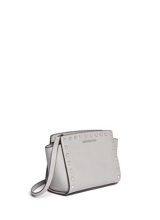 Front View - Click To Enlarge - Michael Kors - 'Selma Stud' medium saffiano leather messenger bag