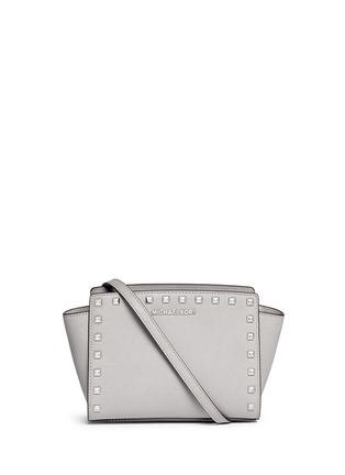 Main View - Click To Enlarge - Michael Kors - 'Selma Stud' medium saffiano leather messenger bag