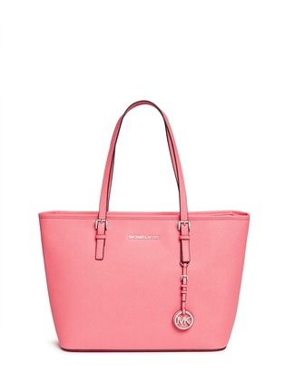 Main View - Click To Enlarge - Michael Kors - 'Jet Set Travel' saffiano leather top zip tote