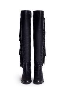 STUART WEITZMAN'Mane' scuba jersey leather fringe boots
