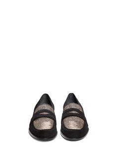 STUART WEITZMAN'Schooldays' metallic lamé trim suede loafers