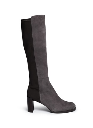 Main View - Click To Enlarge - Stuart Weitzman - 'Half N Half' elastic back suede knee high boots