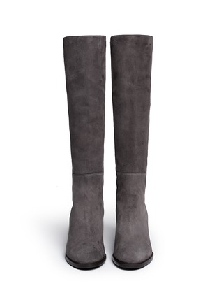 Figure View - Click To Enlarge - Stuart Weitzman - 'Half N Half' elastic back suede knee high boots