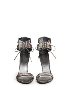 STUART WEITZMAN 'Tynela' cracked metallic leather lace-up sandals