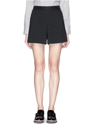 Main View - Click To Enlarge - Theory - 'Taminara' inverted pleat linen shorts