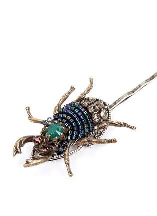Detail View - Click To Enlarge - Miriam Haskell - Swarovski crystal seed bead beetle hair clip