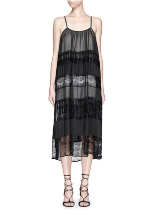 Main View - Click To Enlarge - alice + olivia - 'Dejas' lace pleat trapeze dress