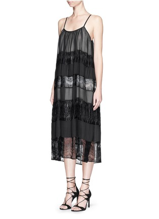 Figure View - Click To Enlarge - alice + olivia - 'Dejas' lace pleat trapeze dress