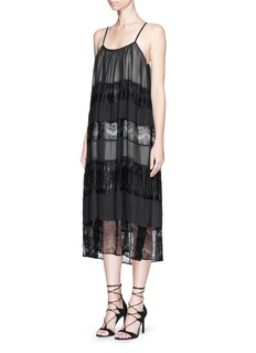 ALICE + OLIVIA 'Dejas' lace pleat trapeze dress
