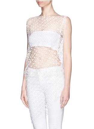 Front View - Click To Enlarge - Ellery - 'Jasper' crochet web lace drape top