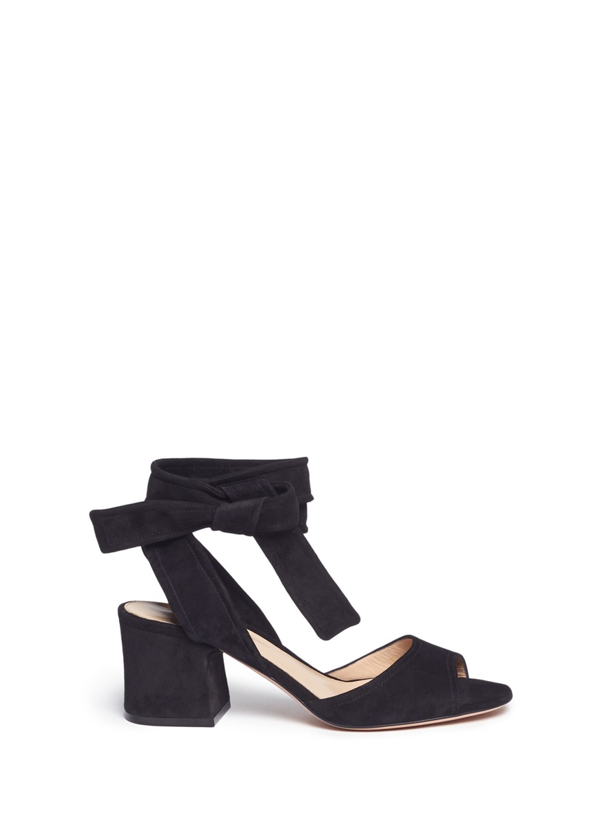 Ankle tie suede sandals by Gianvito Rossi