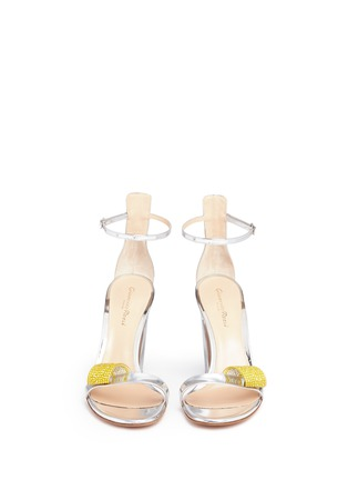 Front View - Click To Enlarge - Gianvito Rossi - Strass ornament mirror leather sandals