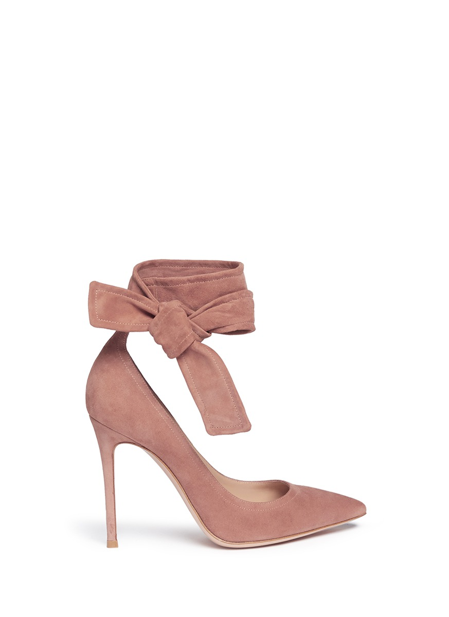 Lane ankle tie suede pumps by Gianvito Rossi