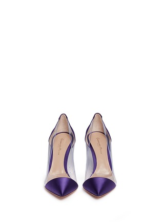 Front View - Click To Enlarge - Gianvito Rossi - 'Plexi' clear PVC satin pumps