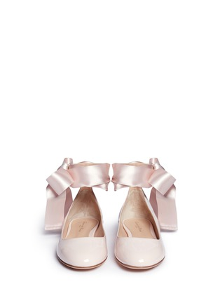 Front View - Click To Enlarge - Gianvito Rossi - 'Odette' ribbon tie patent leather ballerinas