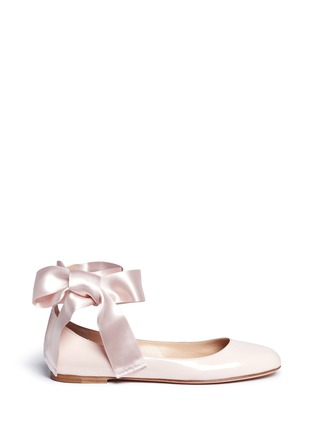 Main View - Click To Enlarge - Gianvito Rossi - 'Odette' ribbon tie patent leather ballerinas