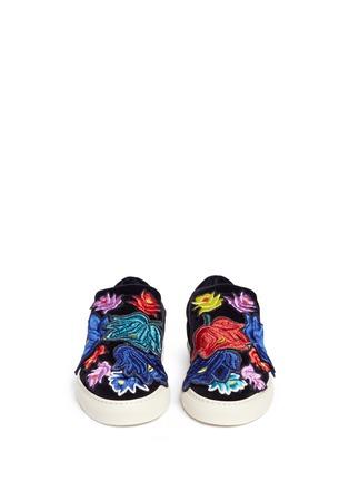 Ports 1961-Embroidered floral appliqué velvet skate slip-ons