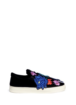 Main View - Click To Enlarge - Ports 1961 - Embroidered floral appliqué velvet skate slip-ons