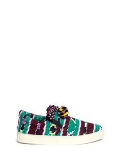 Ports 1961Pompom drawstring tribal knit skate slip-ons