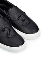 '23' embossed leather skate slip-ons