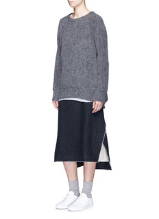 Song for the Mute Raw edge cotton-wool A-line skirt