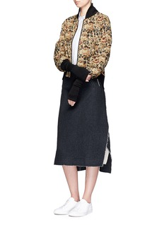 Song for the Mute Floral jacquard cropped bomber jacket