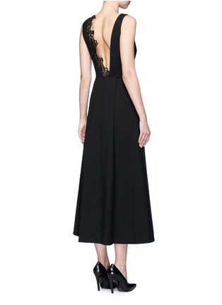 Back View - Click To Enlarge - self-portrait - 'Ebony' lace trim maxi crepe dress