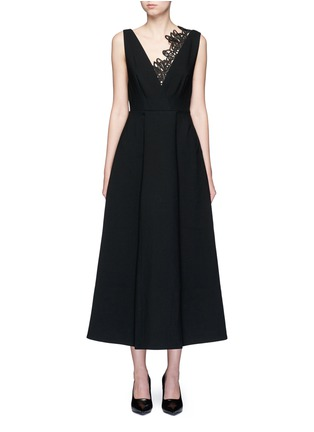 Main View - Click To Enlarge - self-portrait - 'Ebony' lace trim maxi crepe dress
