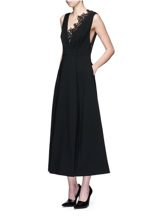 Figure View - Click To Enlarge - self-portrait - 'Ebony' lace trim maxi crepe dress