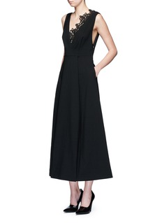 self-portrait 'Ebony' lace trim maxi crepe dress
