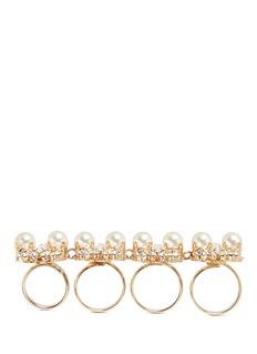 Anton HeunisSwarovski crystal pearl four finger ring