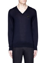 Crystal bee embroidery cashmere sweater