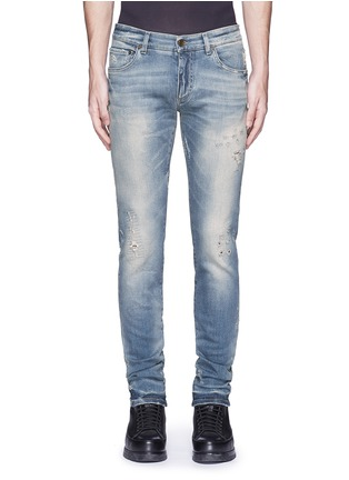 Detail View - Click To Enlarge - Dolce & Gabbana - 'Stretch 14' slim fit light wash distressed jeans
