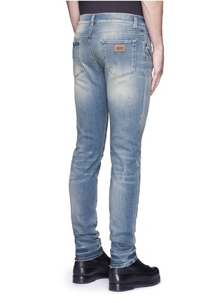 Back View - Click To Enlarge - Dolce & Gabbana - 'Stretch 14' slim fit light wash distressed jeans