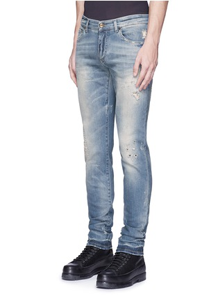 Front View - Click To Enlarge - Dolce & Gabbana - 'Stretch 14' slim fit light wash distressed jeans