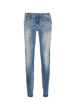 Main View - Click To Enlarge - Dolce & Gabbana - 'Stretch 14' slim fit light wash distressed jeans