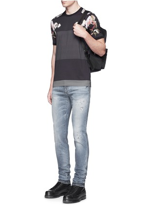 Figure View - Click To Enlarge - Dolce & Gabbana - 'Stretch 14' slim fit light wash distressed jeans