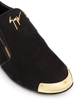 Detail View - Click To Enlarge - Giuseppe Zanotti Design - 'Dalila' metal toe Hovercraft sole suede loafers