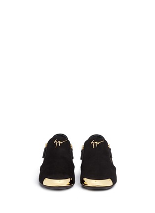 Front View - Click To Enlarge - Giuseppe Zanotti Design - 'Dalila' metal toe Hovercraft sole suede loafers