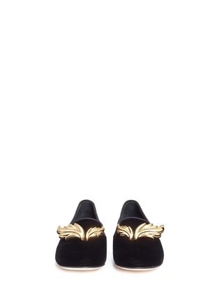 GIUSEPPE ZANOTTI DESIGN-Dalila金色镜面翅膀装饰天鹅绒平底便鞋