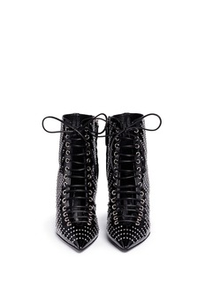 Giuseppe Zanotti Design 'Lucrezia' crystal patent leather lace-up boots