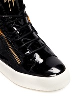 'May London' patent leather lace-up high top sneakers