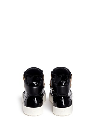 Back View - Click To Enlarge - Giuseppe Zanotti Design - 'May London' patent leather lace-up high top sneakers