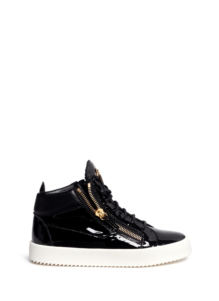 May London patent leather lace-up high top sneakers by Giuseppe Zanotti Design