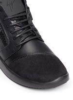 'Singleg' zip suede leather combo sneakers