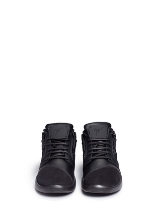 Front View - Click To Enlarge - Giuseppe Zanotti Design - 'Singleg' zip suede leather combo sneakers