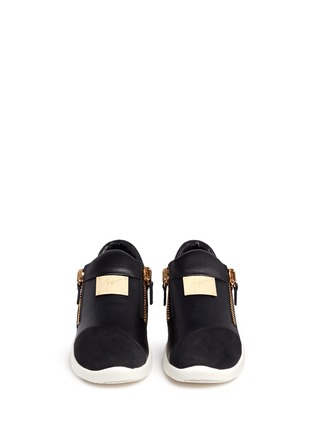 Front View - Click To Enlarge - Giuseppe Zanotti Design - Suede trim logo leather sneakers