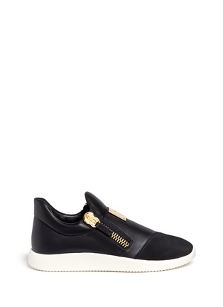 Main View - Click To Enlarge - Giuseppe Zanotti Design - Suede trim logo leather sneakers