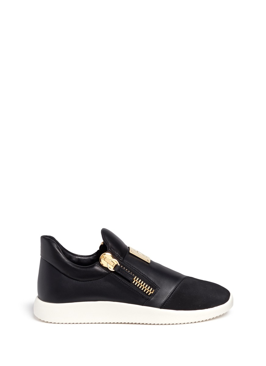 Suede trim logo leather sneakers by Giuseppe Zanotti Design